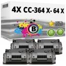Sparset 4x Alternativ HP Toner CC364X / 64X Schwarz
