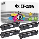4x Alternativ HP Toner 30A / CF230A Schwarz