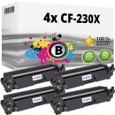 4x Alternativ HP Toner 30X / CF230X Schwarz