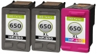 Set 3x Refill HP Patronen 650 XL Schwarz+Color