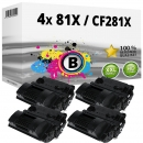 4x Alternativ HP Toner CF281X 81X Schwarz
