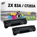 Set 2x Alternativ HP Toner CF283A / 83A Schwarz