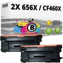 2x Alternativ HP Toner 656X / CF460X Schwarz
