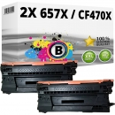 2x Alternativ HP Toner 657X / CF470X Schwarz