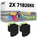 2x Alternativ Lexmark Toner 71B20K0 Schwarz