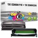 Set Alternativ Lexmark Toner E260A11E + Trommel E260X22G Schwarz
