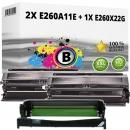 Set Alternativ Lexmark Toner 2x E260A11E + Trommel E260X22G