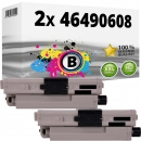 2x Alternativ OKI Toner 46490608 Schwarz
