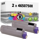 2x Alternativ OKI Toner 46507508 Schwarz