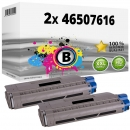 2x Alternativ OKI Toner 46507616 Schwarz