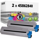 2x Alternativ OKI Toner 45862840 Schwarz