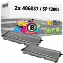 2x Alternativ Ricoh Toner 406837 / SP 1200E Schwarz