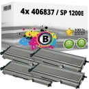 4x Alternativ Ricoh Toner 406837 / SP 1200E Schwarz