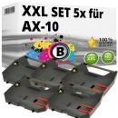 Set 5x Alternativ Brother Farbband AX-10 Schwarz
