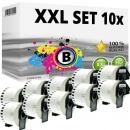 Set 10x Alternativ Brother Endlos-Etikett DK-22205 Tape