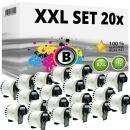 Set 20x Alternativ Brother Endlos-Etikett DK-22205 Tape