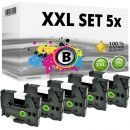 Set 5x Alternativ Brother Schriftbandkassette TZ-221 9mm
