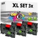Set 3x Alternativ Brother Schriftbandkassette TZ-411 6mm