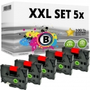 Set 5x Alternativ Brother Schriftbandkassette TZ-411 6mm