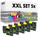 Set 5x Alternativ Brother Schriftbandkassette TZ-651 24mm