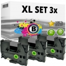 Set 3x Alternativ Brother Schriftbandkassette TZ-931 12mm