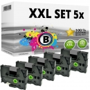 Set 5x Alternativ Brother Schriftbandkassette TZ-931 12mm