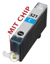 Alternativ Tintenpatrone CLI-521C mit Chip fuer Canon