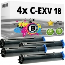 4x Alternativ Canon Toner C-EXV 18 Schwarz Set