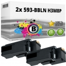 2x Alternativ Dell Toner 593-BBLN H3M8P Schwarz