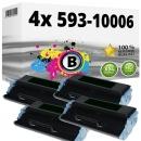 Alternativ Dell Toner Set 4x 7Y606 593-10006 Schwarz