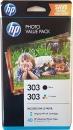 Set Original HP Patronen 303 T6N01AE T6N02AE + 40 Blatt Fotopapier 10x15