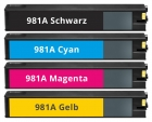 4x Alternativ HP Patronen HP 981A Mehrfarbig