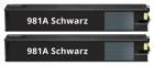 2x Alternativ HP Patronen HP 981A J3M71A Schwarz