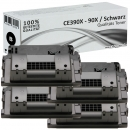 4x Alternativ HP 90X Toner CE390X Schwarz