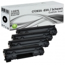 Set 4x Alternativ HP Toner CF283A / 83A Schwarz