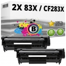 2x Alternativ HP Toner CF283X / 83X Schwarz
