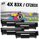 4x Alternativ HP Toner CF283X / 83X Schwarz