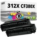 2x Alternativ Toner HP 312X CF380X Schwarz