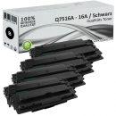 Set 4x Alternativ HP Toner Q7516A / 16A Schwarz