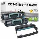 Set Alternativ Lexmark Toner 2x 24016SE + Trommel 12A8302