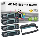 Set Alternativ Lexmark Toner 4x 24016SE + Trommel 12A8302