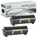 Set 2x Alternativ Lexmark Toner 502 50F2000 Schwarz