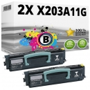 Set 2x Alternativ Lexmark Toner X203A11G Schwarz
