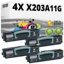 Set 4x Alternativ Lexmark Toner X203A11G Schwarz