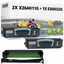 Set Alternativ Lexmark Toner 2x X264H11G + Trommel E260X22G