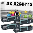 Set 4x Alternativ Lexmark Toner X264H11G Schwarz