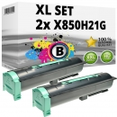 Set 2x Alternativ Lexmark Toner X850H21G Schwarz