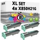 Set 4x Alternativ Lexmark Toner X850H21G Schwarz