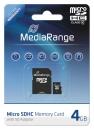 MediaRange Micro SDHC Speicherkarte 4 GB Class 10 mit Adapter