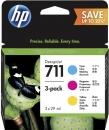 Original HP Set 3x Druckerpatronen 711 Cyan Magenta Gelb
